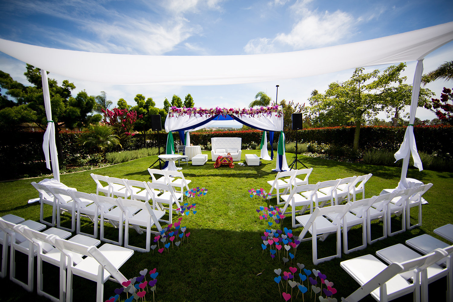 Indian Hindu wedding ceremony site with a Mandap
