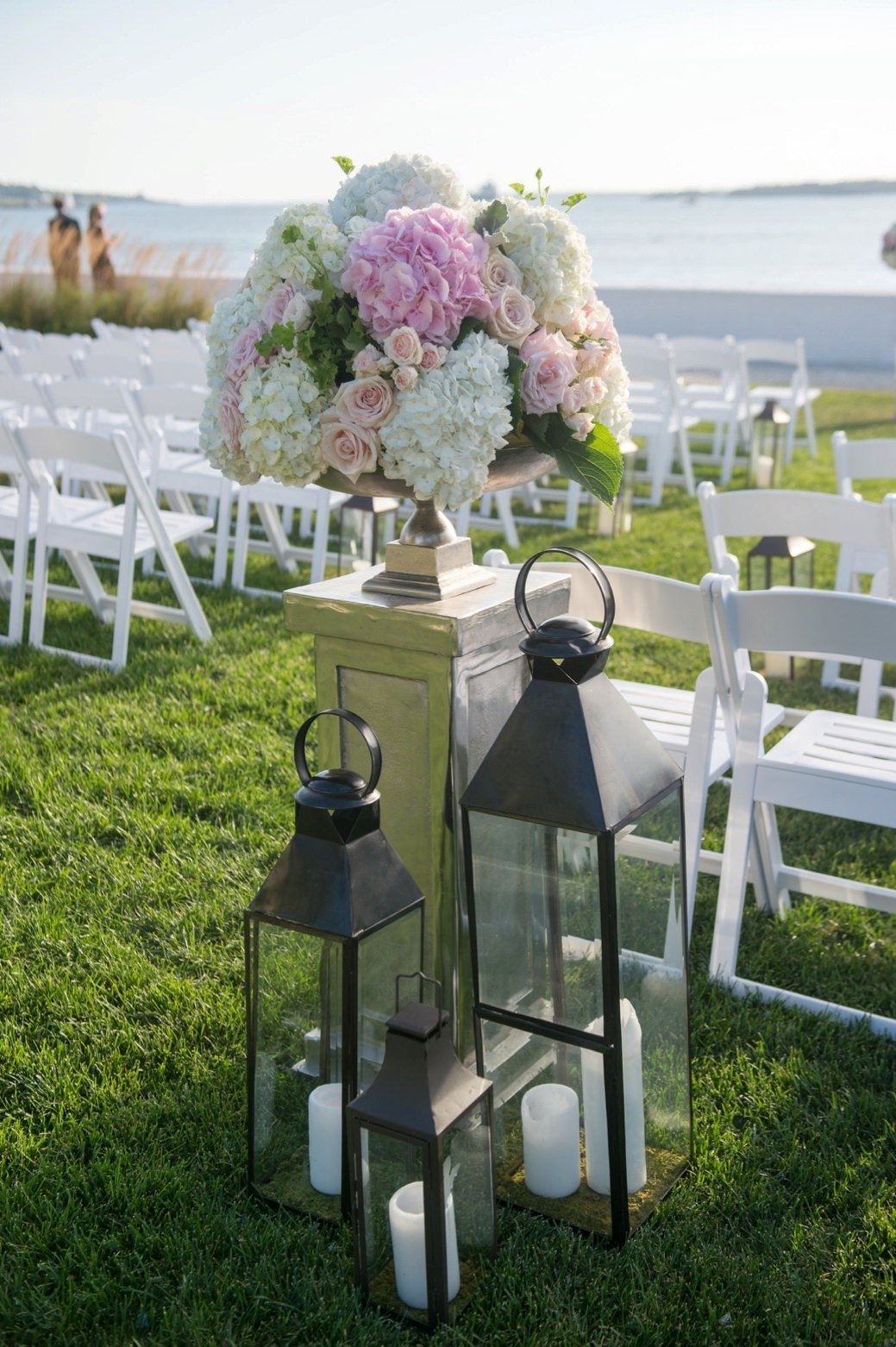 Classic outdoor wedding ceremony at Belle Mer in Newport, RI