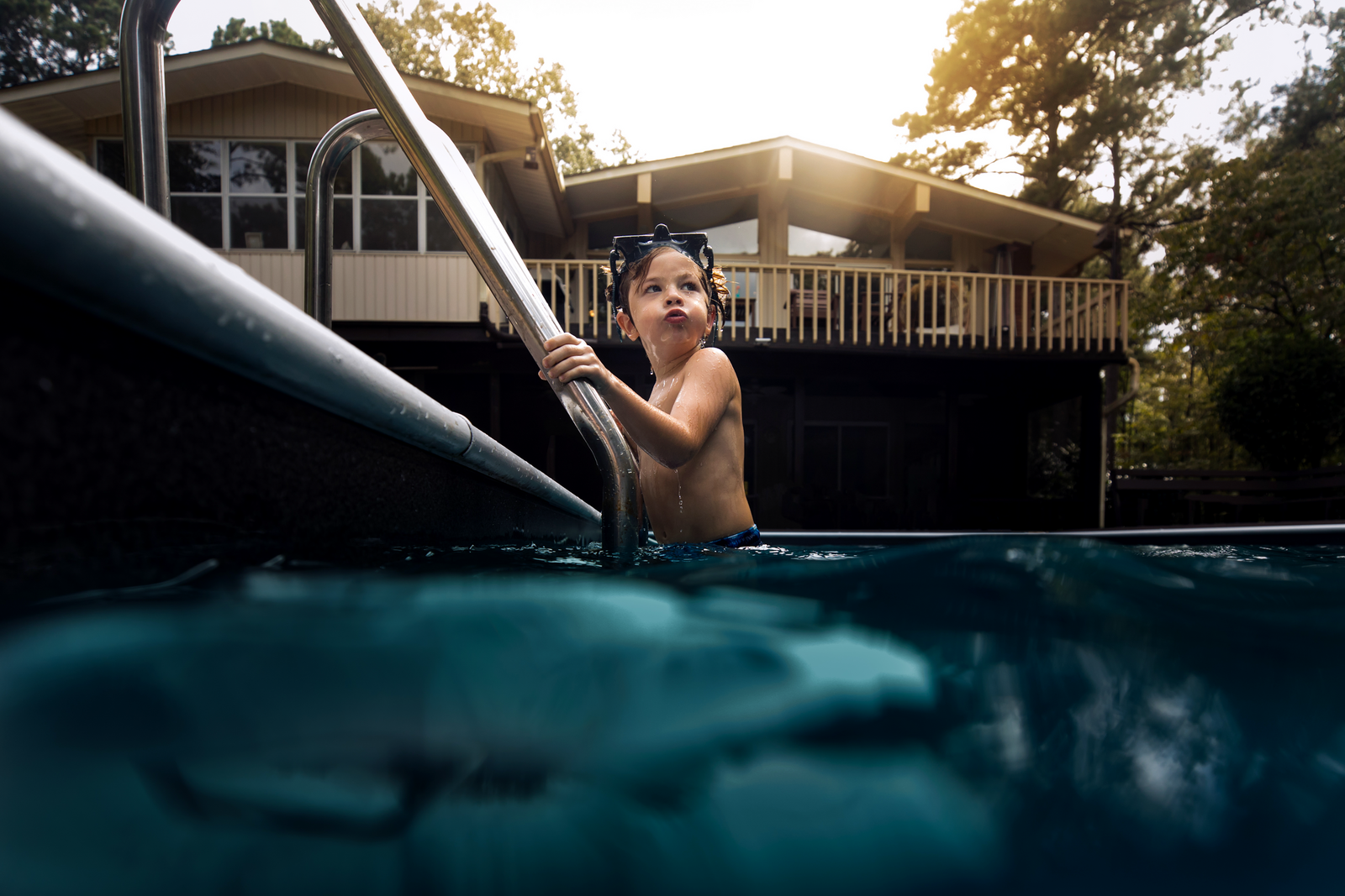 underwater photographer, columbus, ga, atlanta, boy in pool, sunrays, ker-fox photography 9