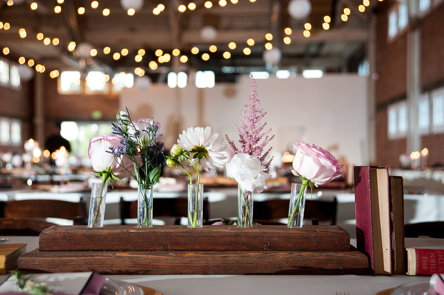 Unique table centerpieces at Brick Warehouse in San Diego | LGBTQ Wedding Decor