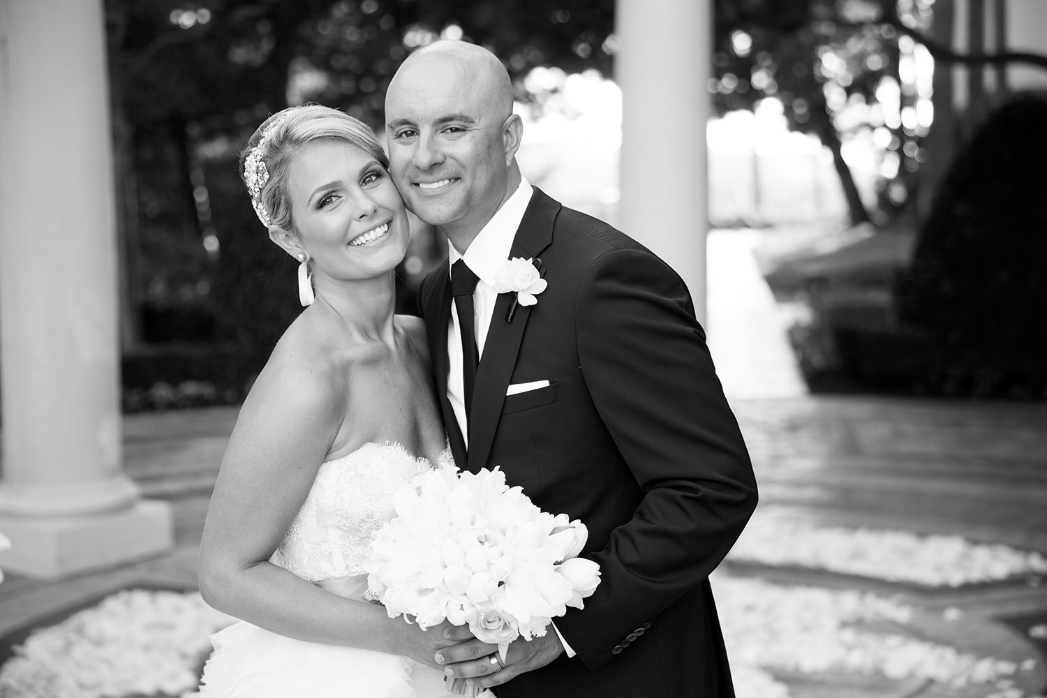 Bride and groom in a classic black and white