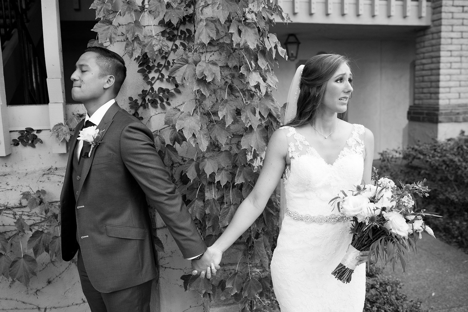 Rancho Bernardo Inn wedding photos emotional black and white