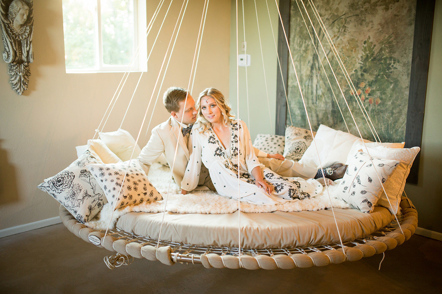 bride and groom in rustic glaming tent