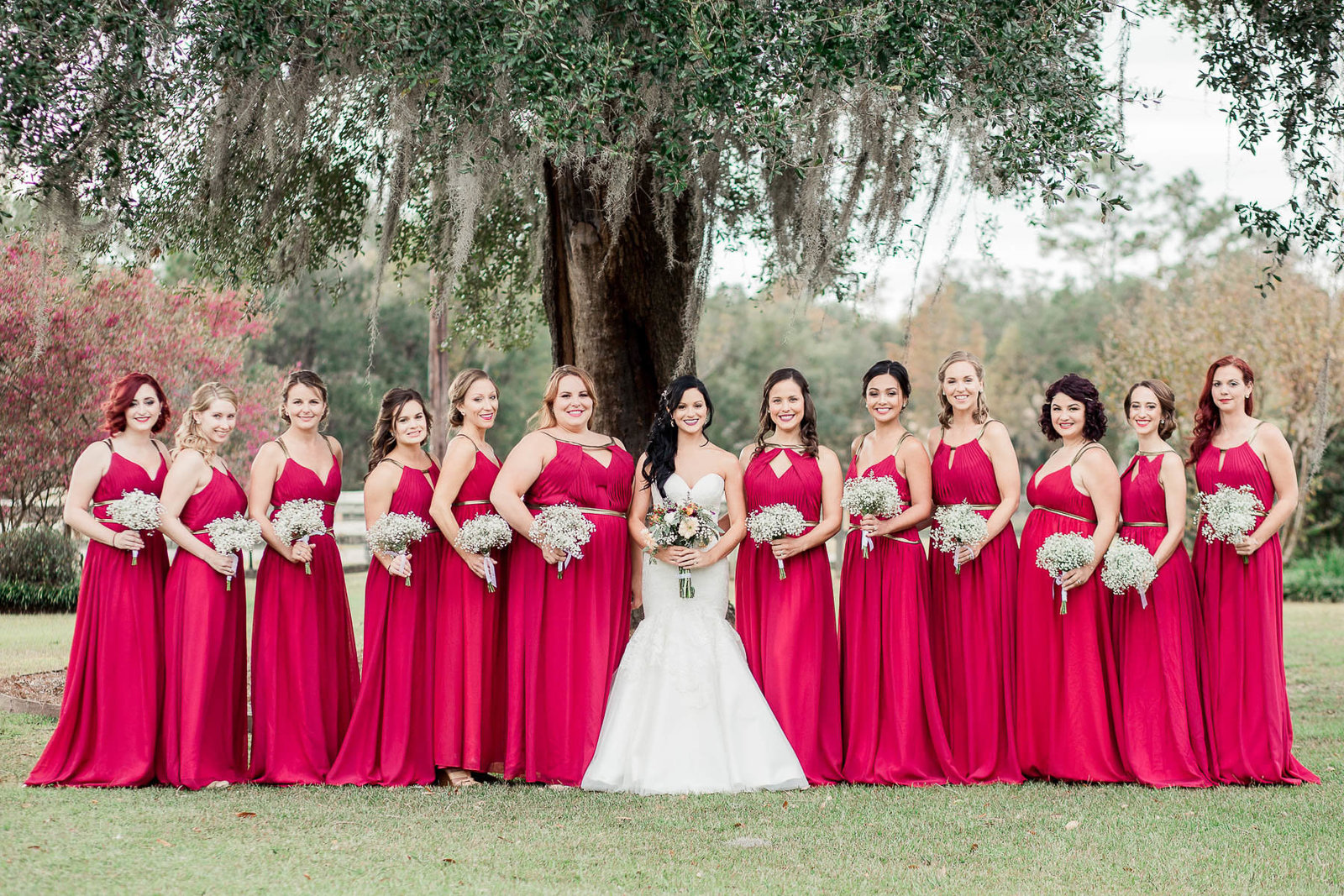 Bride and bridesmaids pose together, Boals Farm, Charleston Wedding Photography