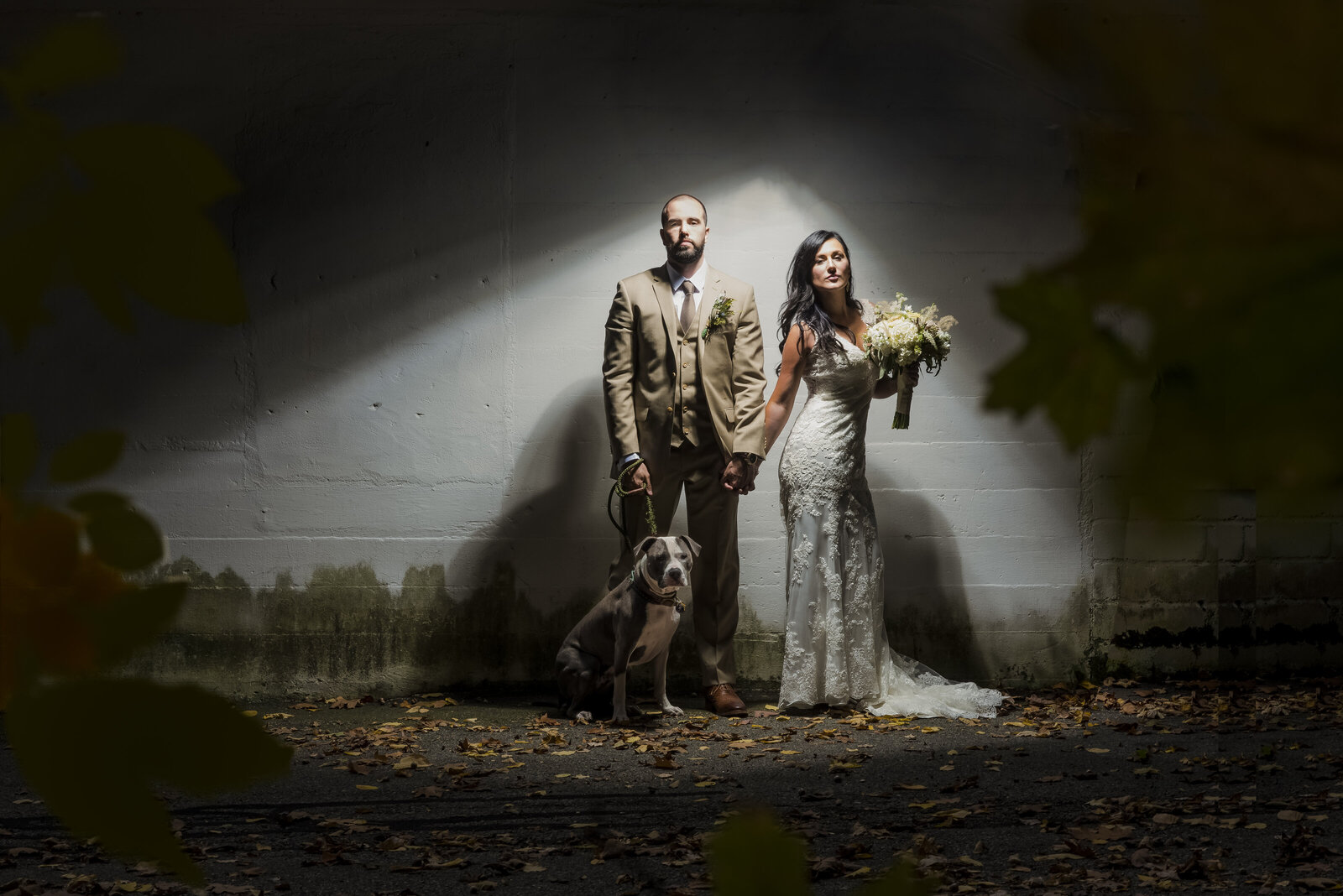 Bride and groom stand with their put bull for a portrait