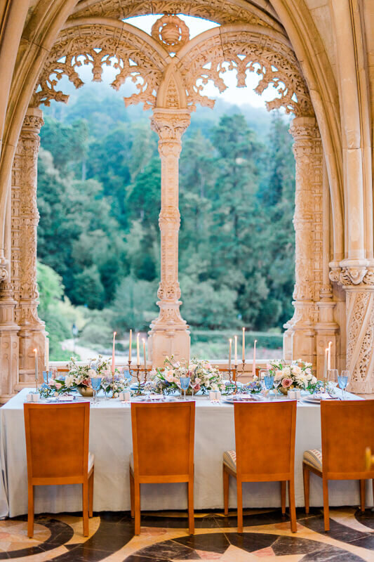 Itimate wedding reception at Bussaco Palace