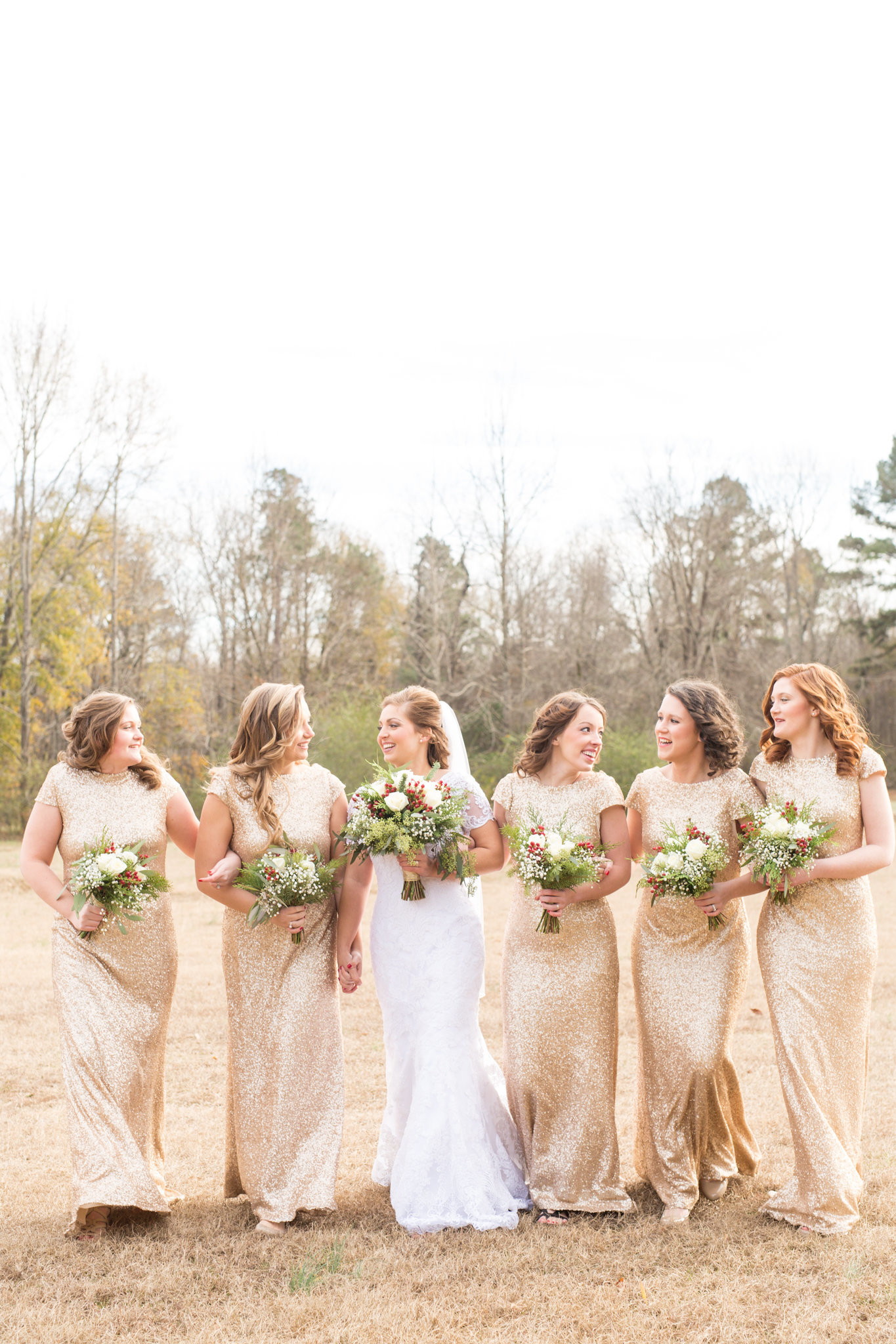 Gold Sequin Bridesmaids Dresses