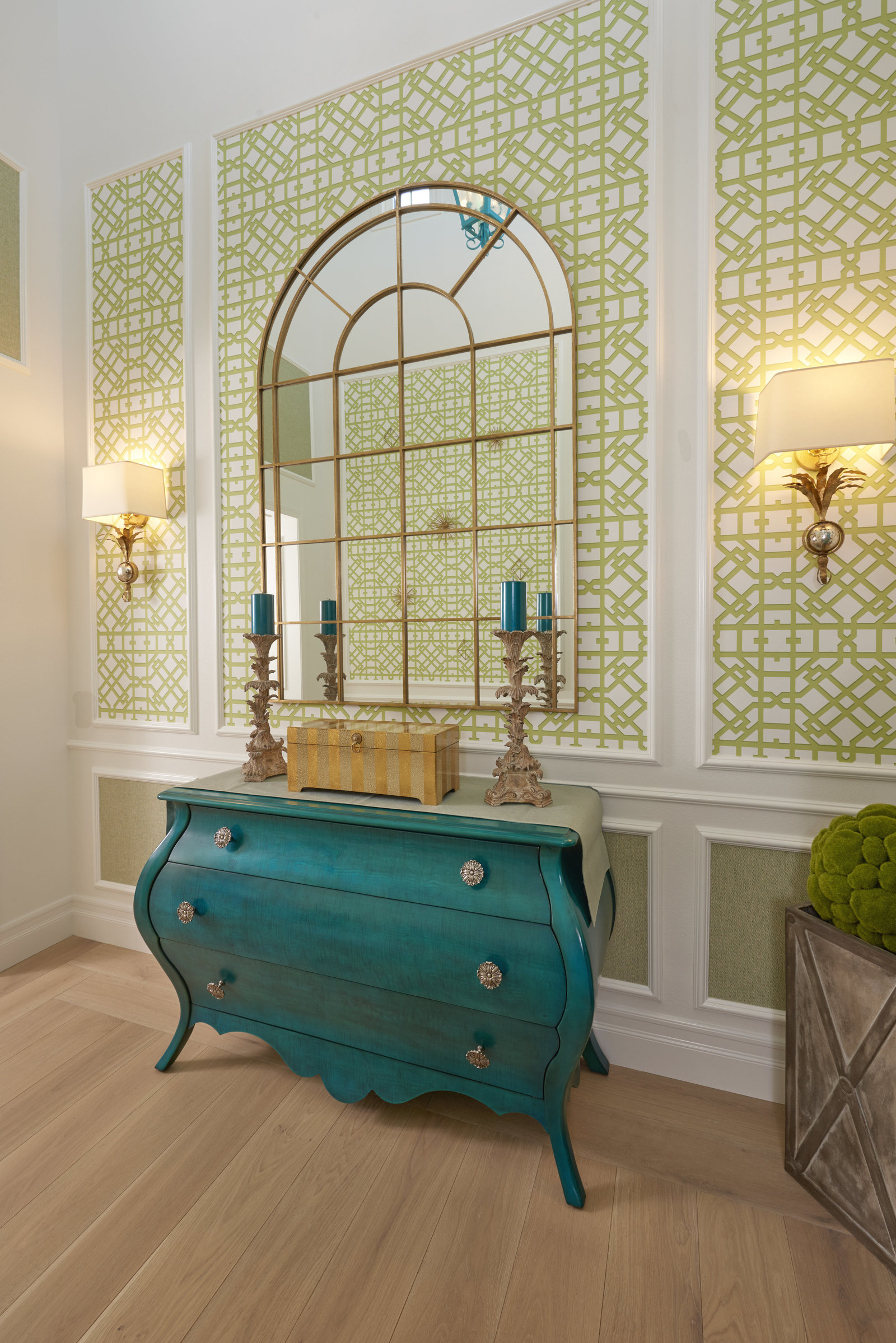 Beach House Foyer Blue Green Wallpaper Design