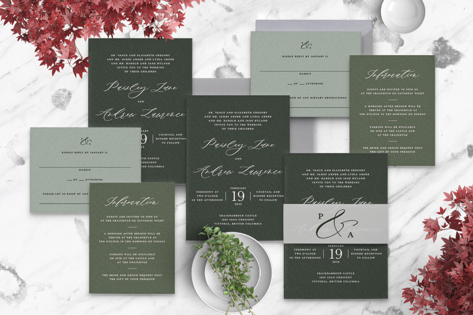 white-ink-stamped-green-wedding-invitation-suite