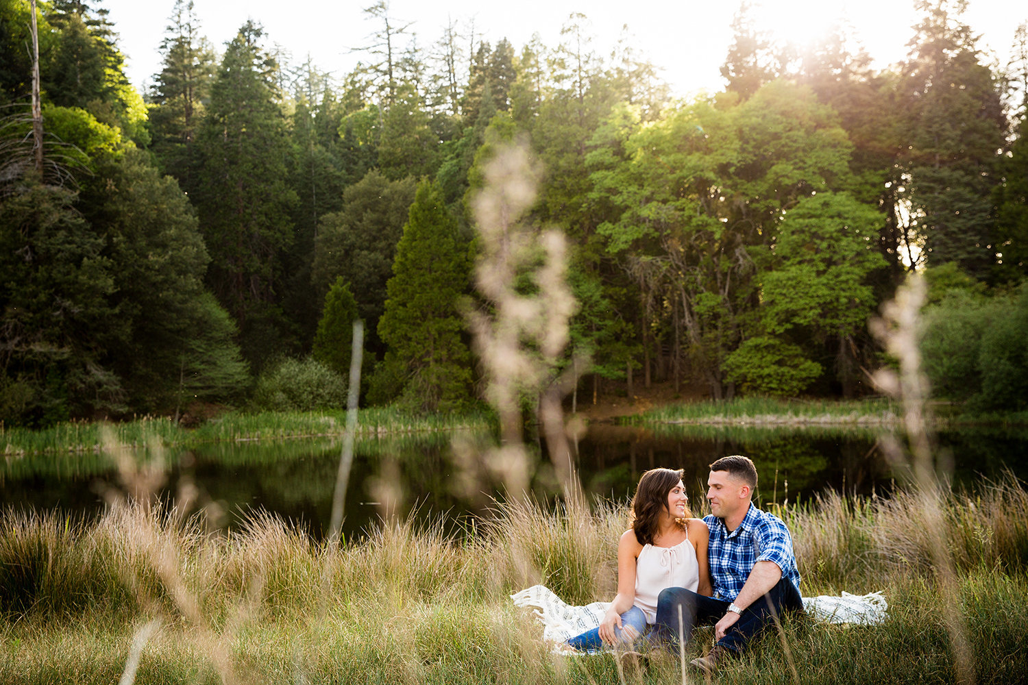 Palomar Mountain engagement photos beautiful  lake shoot