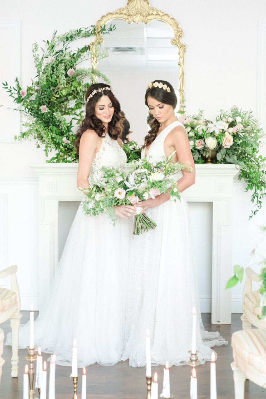 two brides in dresses