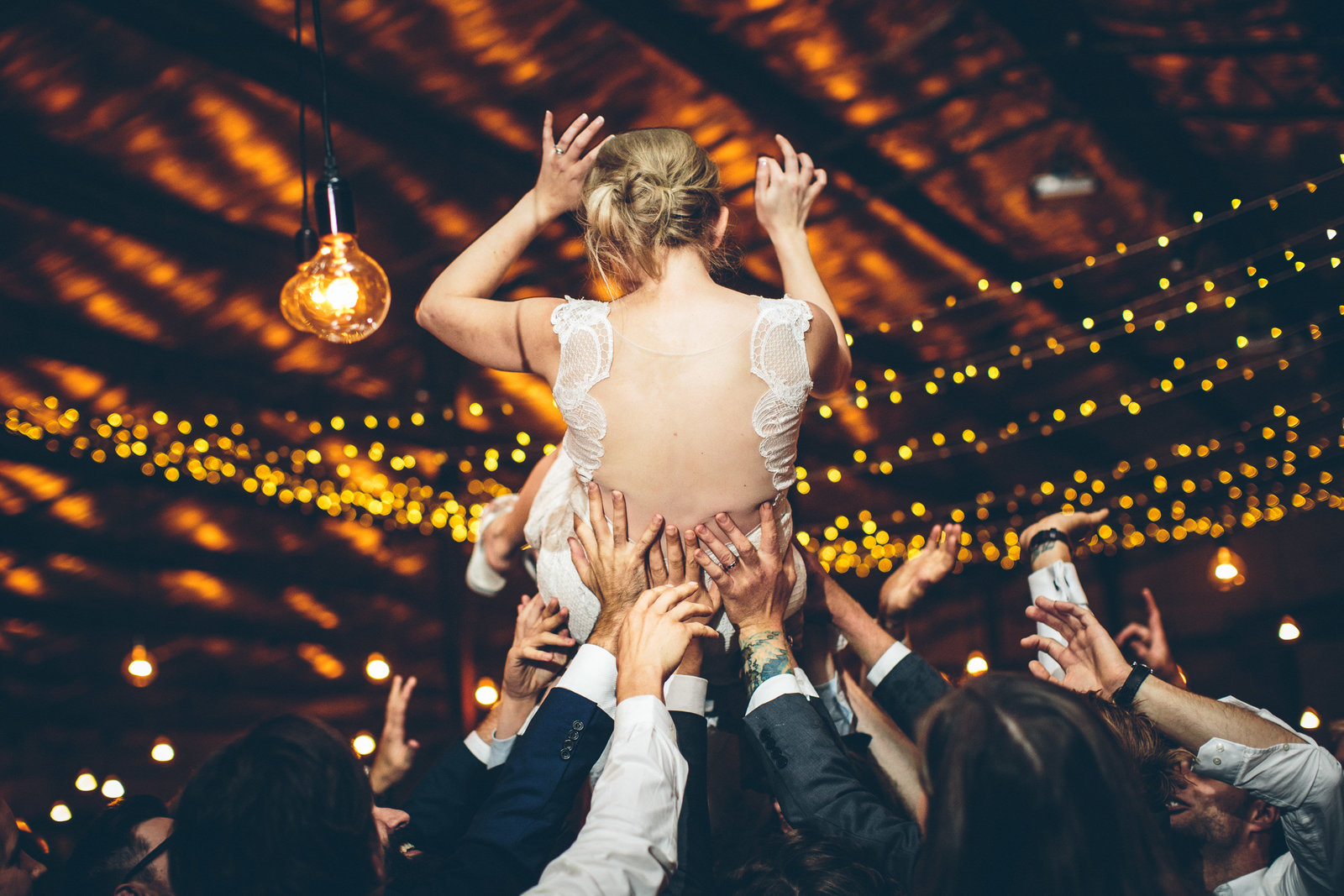 crowd surfing bride