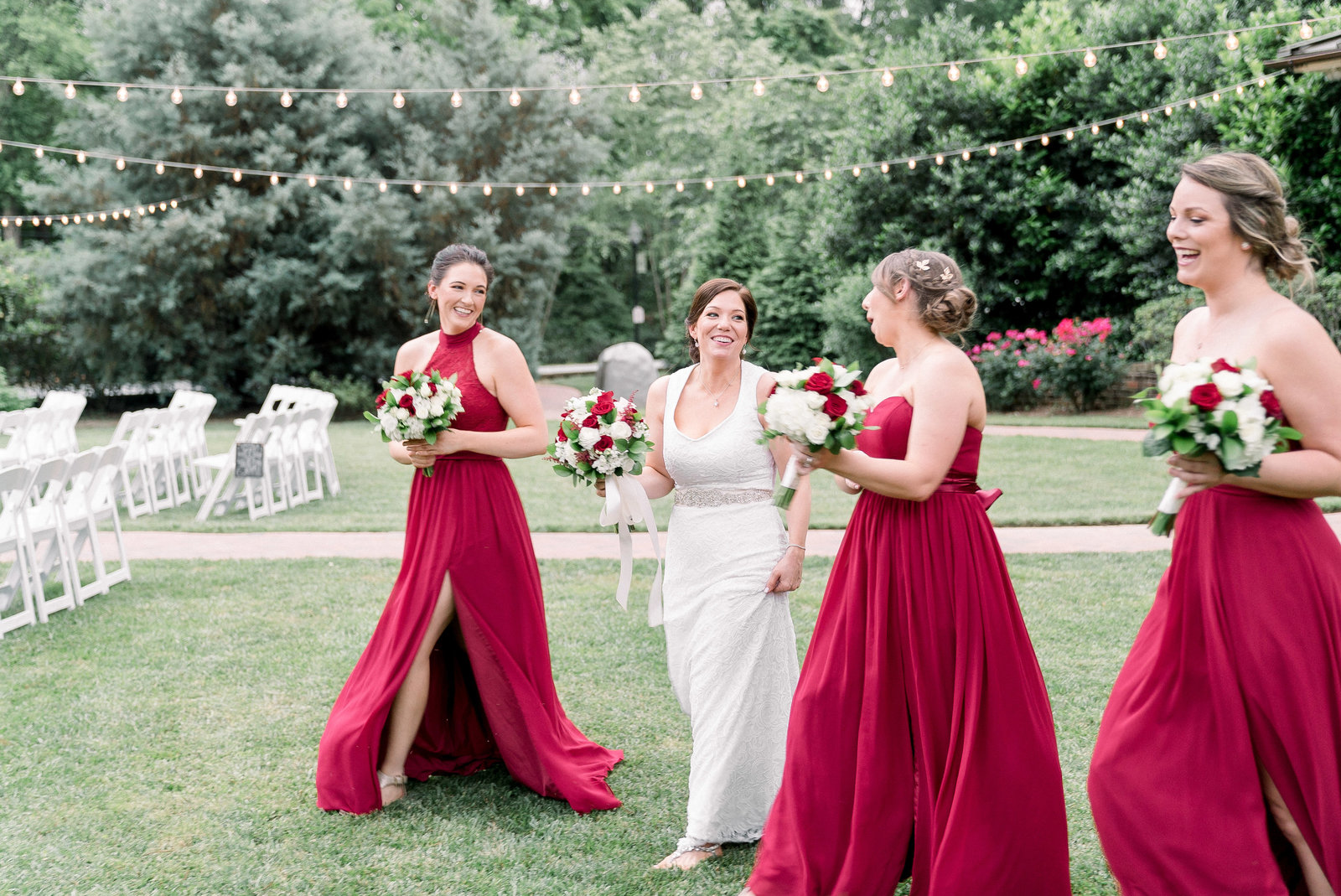 charlotte-nc-wedding-photographer-alexander-homestead-wedding-meagen-kelly-dress-bridesmaids-walking