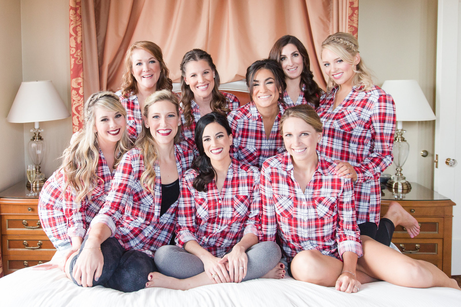 bride and bridesmaids in plaid at the warwick melrose in dallas texas
