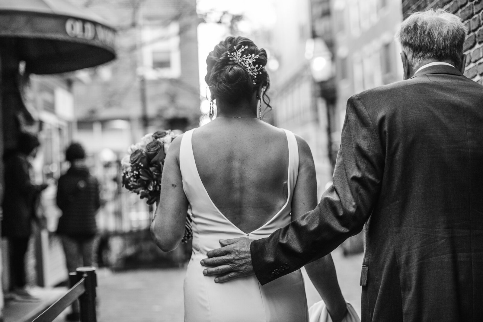 black and white portrait of couple eloping in boston