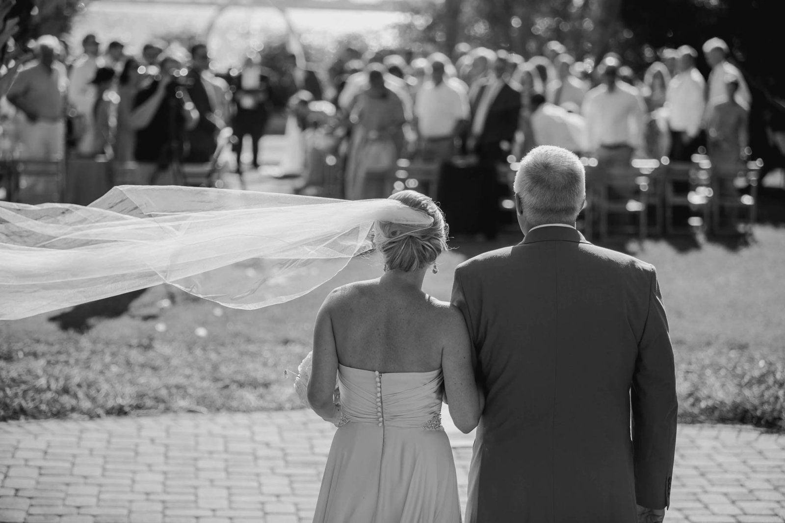 Father walks bride down the aisle, Harborside East, Mt Pleasant, South Carolina. Kate Timbers Photography.