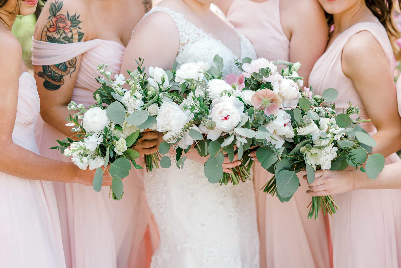 New Jersey Wedding Photographer- blush pink bridesmaids and florals