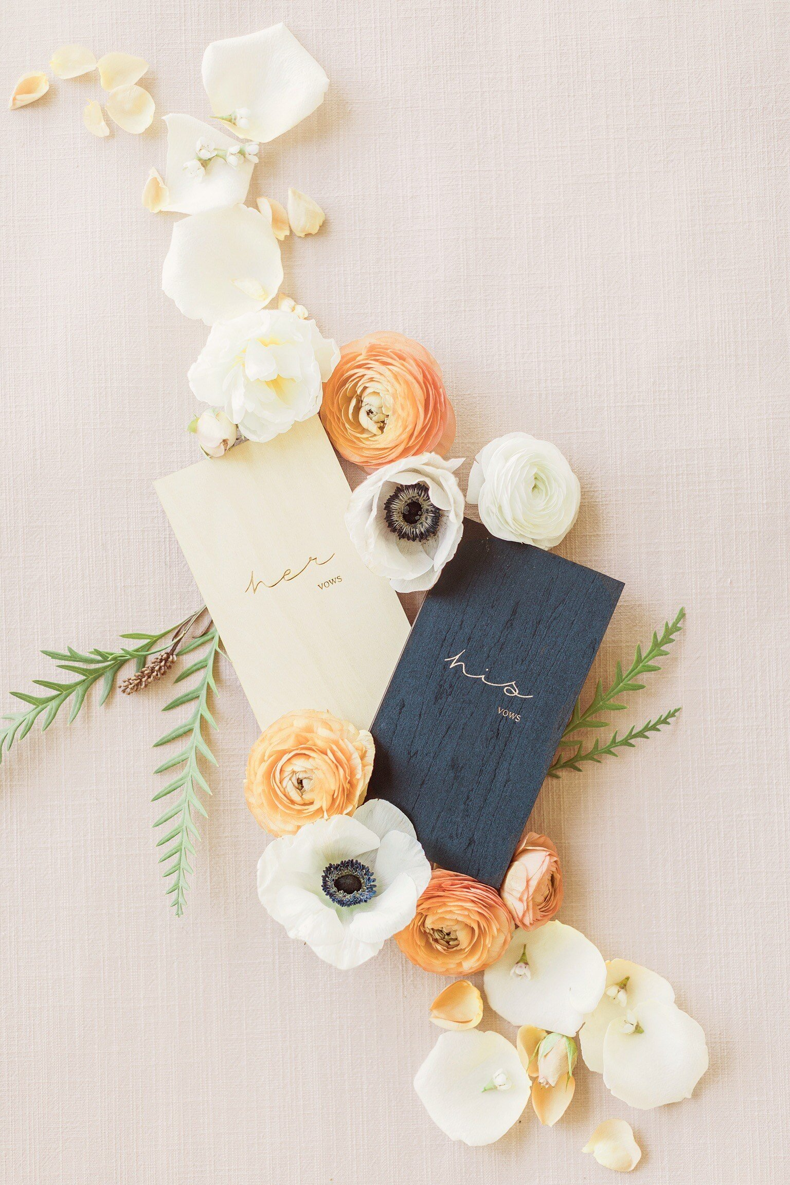 Wedding Vow Books with Flowers