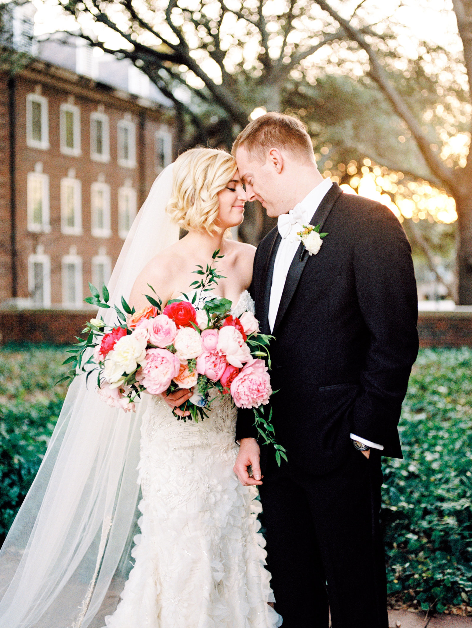 bride and groom portrait in golden hour lighting