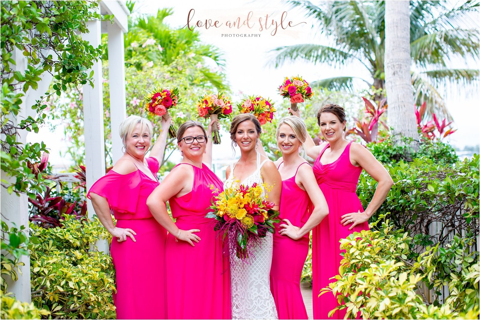 Bride and her bridesmaids at The Tortuga Inn