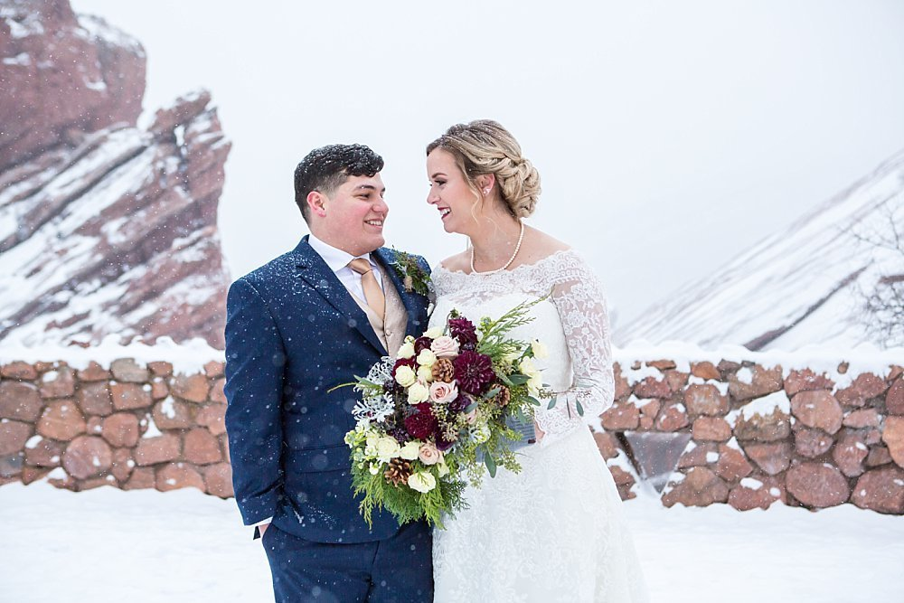Colorado winter weddings - couple at Red Rocks Park in Morrison