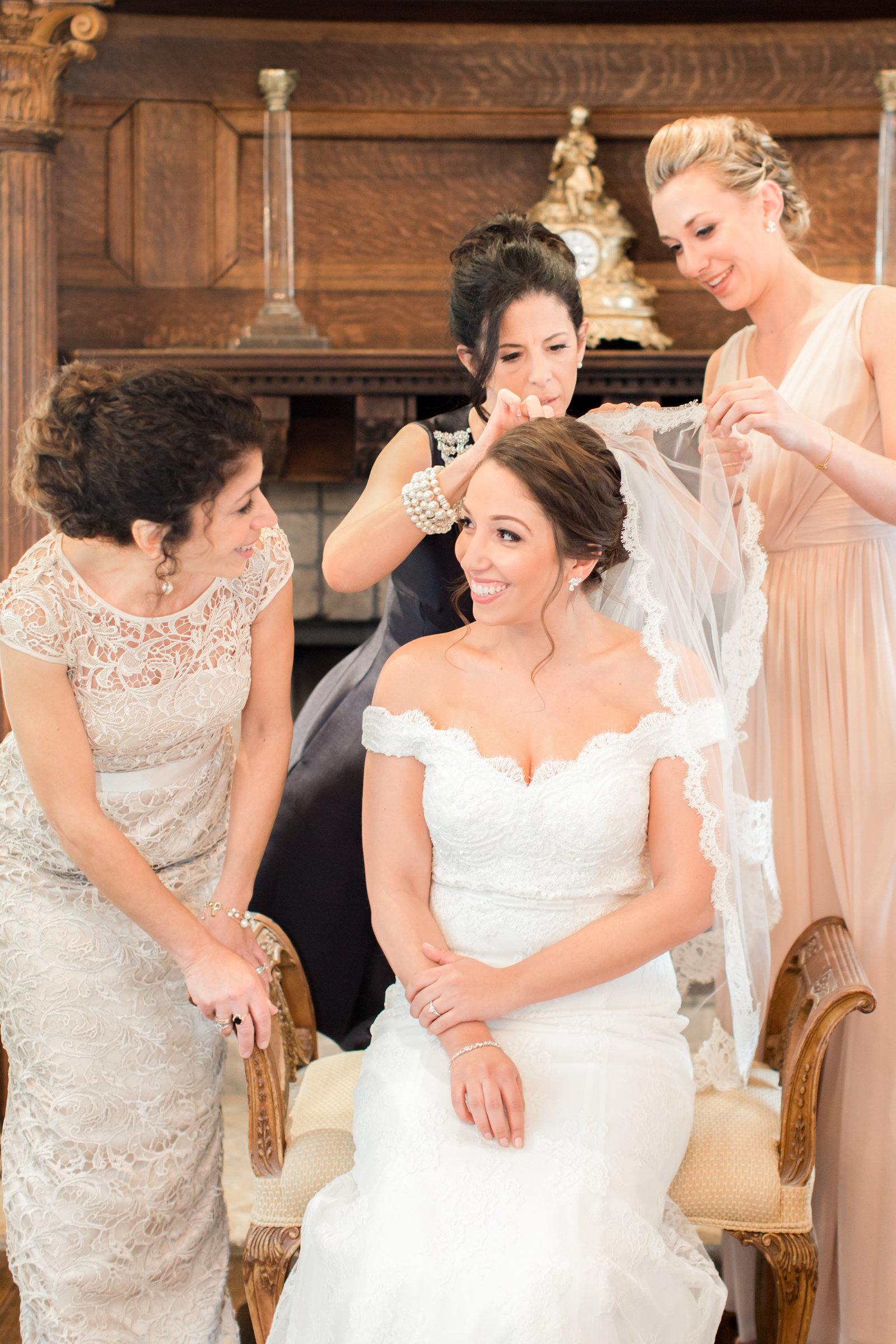 Bride getting ready in Park Savoy Bridal Suite