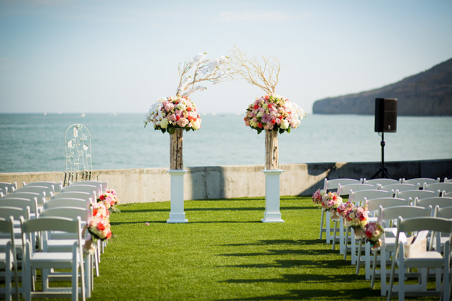 ceremony space at ocean view room with pacific ocean