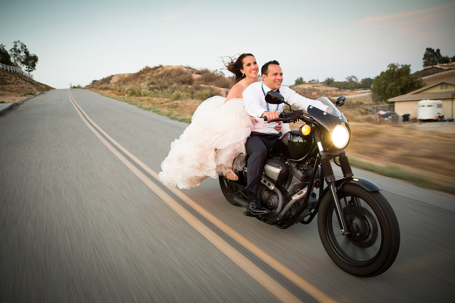 Temecula wedding photos motorcycle driving fun
