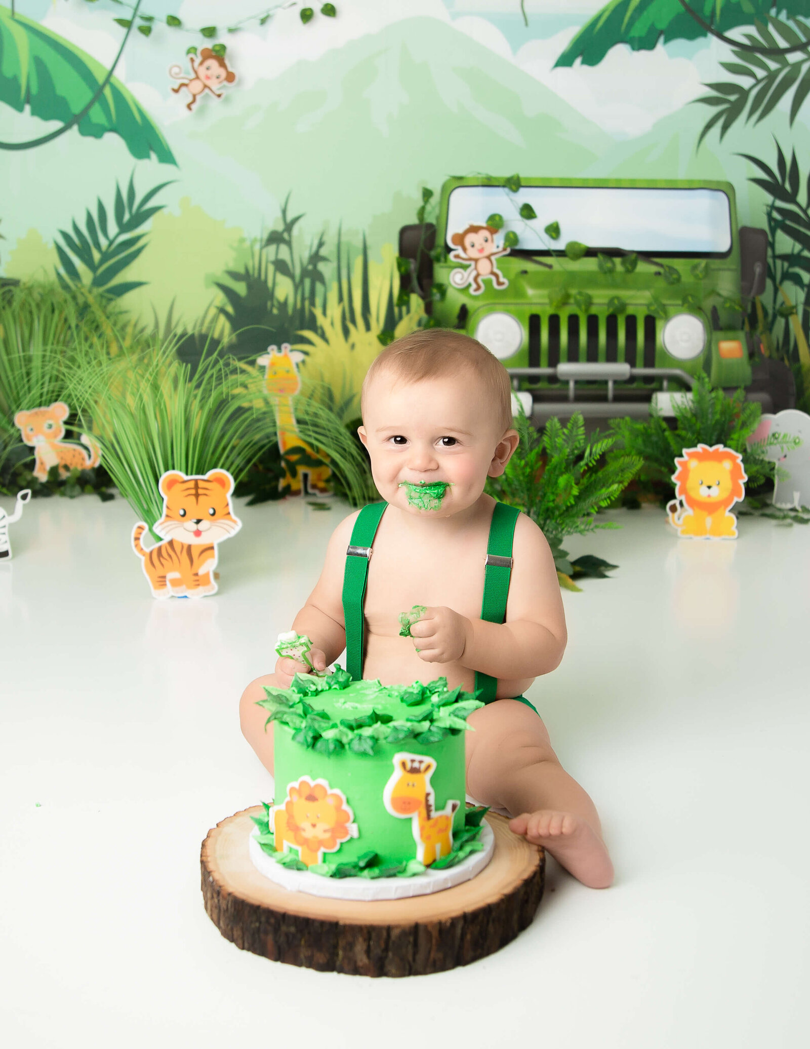 Jungle Safari cake smash at our in-home Rochester, NY studio.