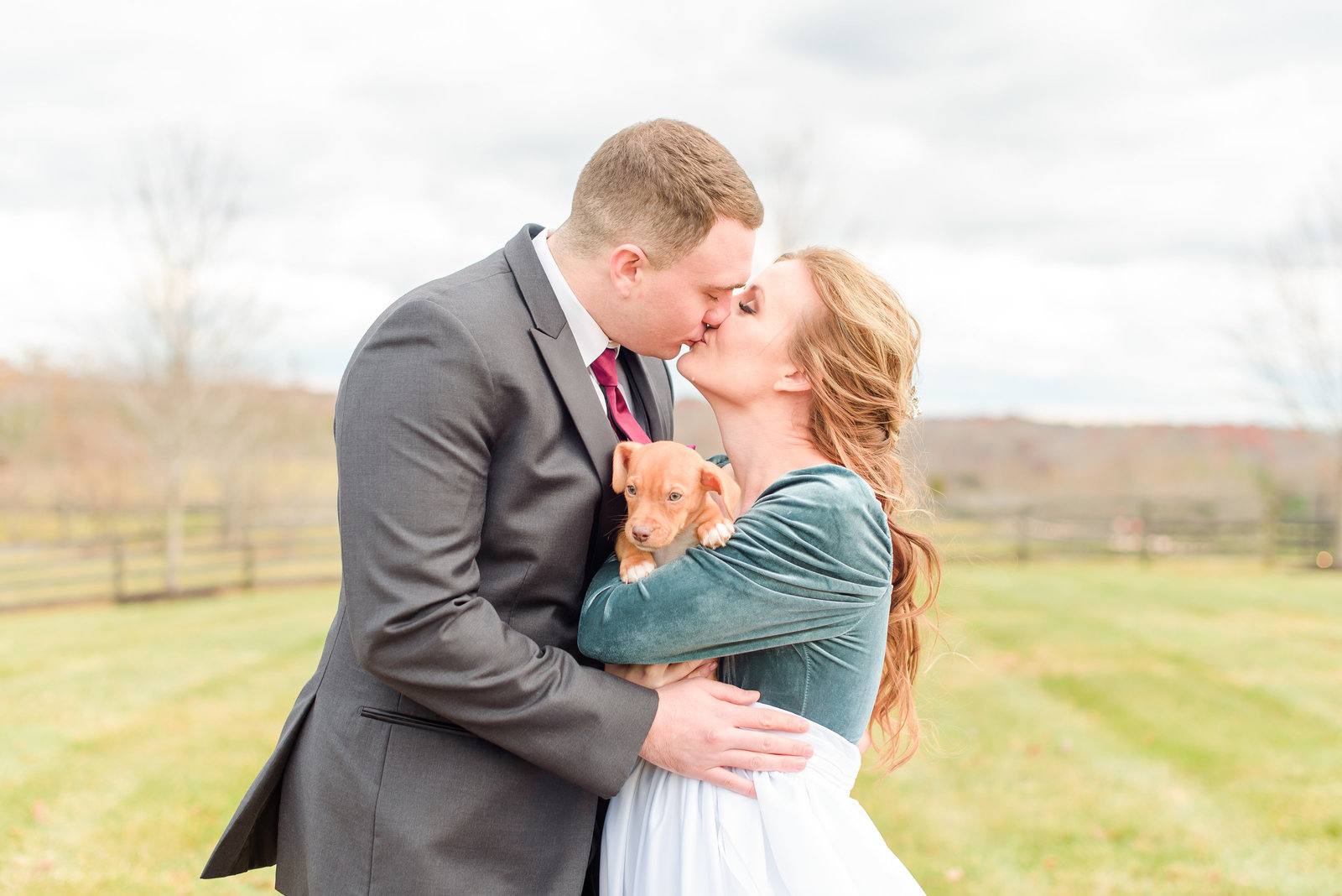 Bride and Groom Photos with Puppy at Mount Ida Farm