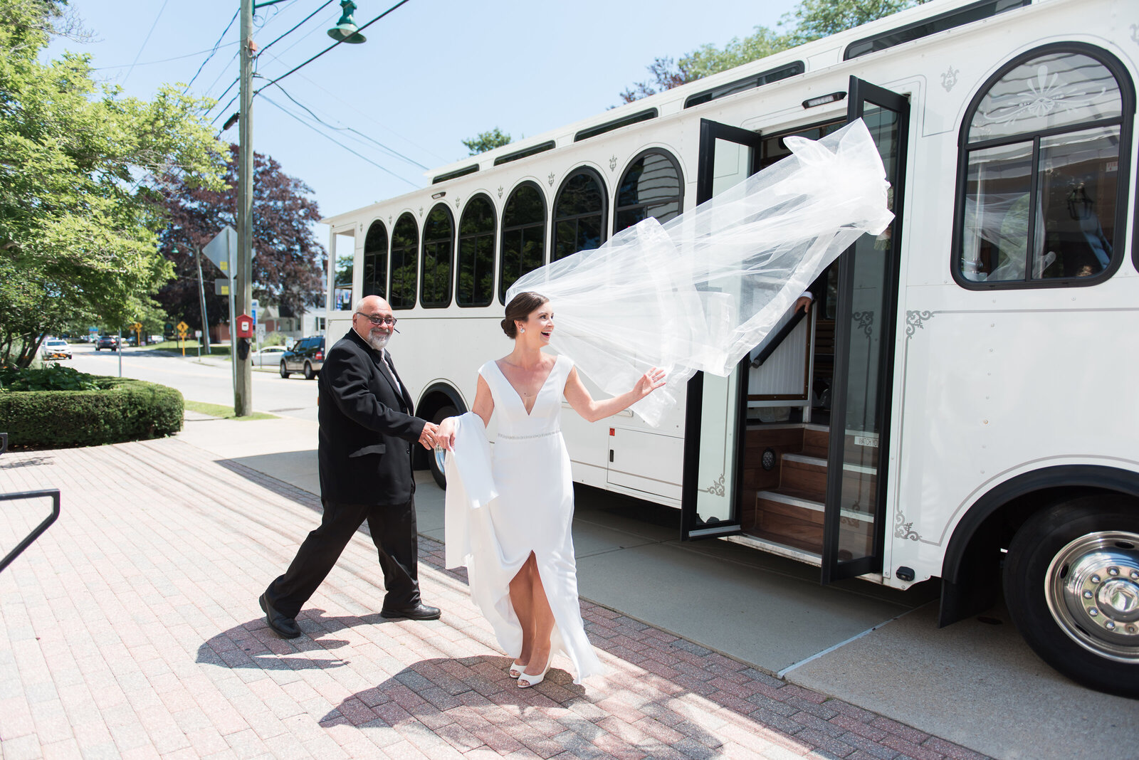 mystic connecticut wedding trolley