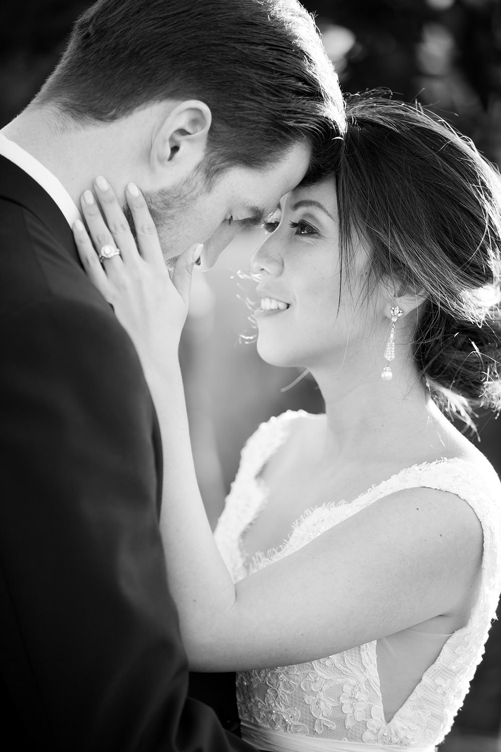 romantic black and white image of couple