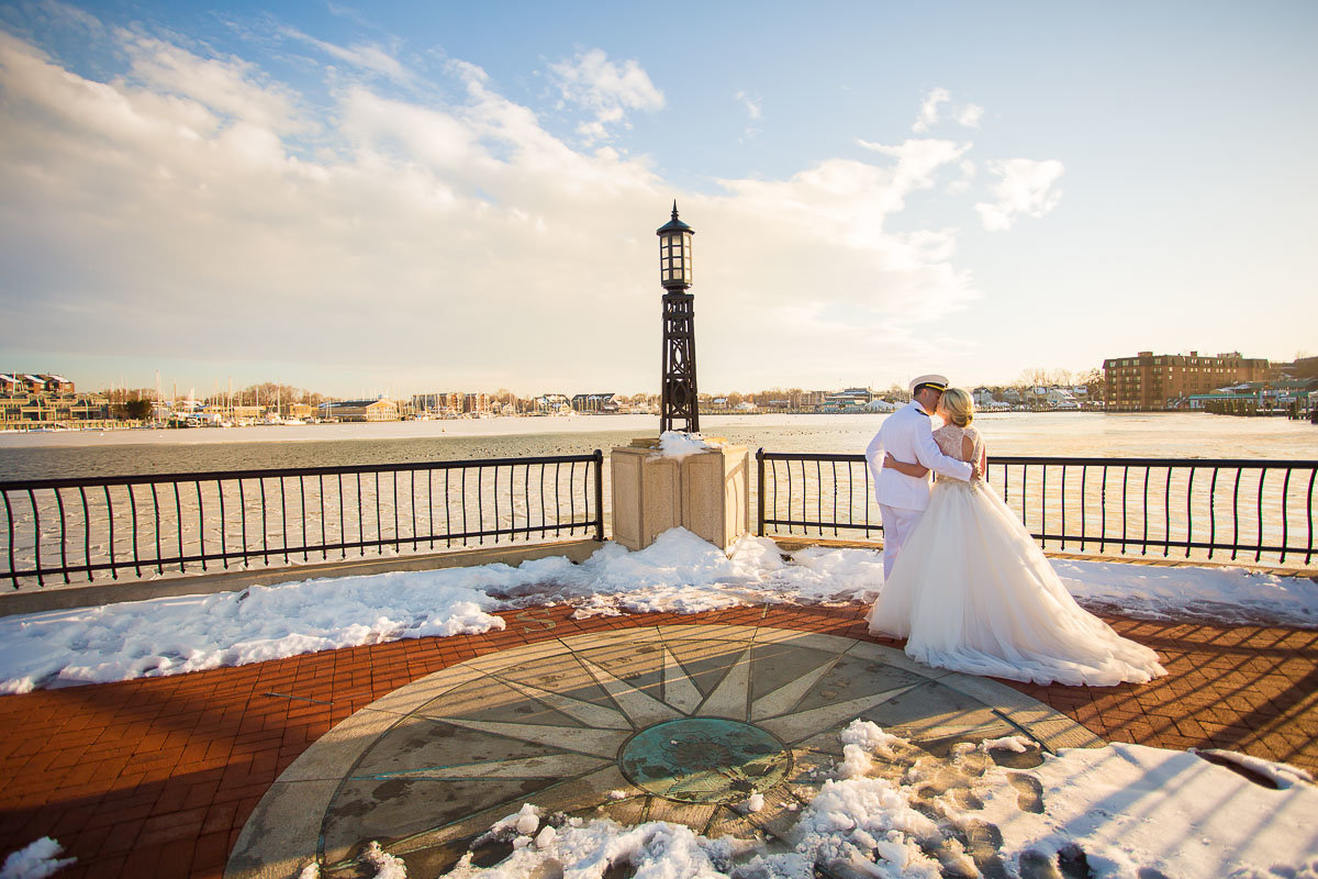 snowy wedding at the united states naval academy in annapolis md