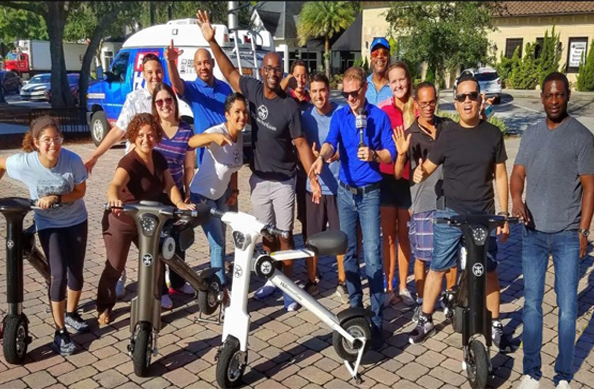 Fox news reporter David Martin with V&D Electric Bikes group picture