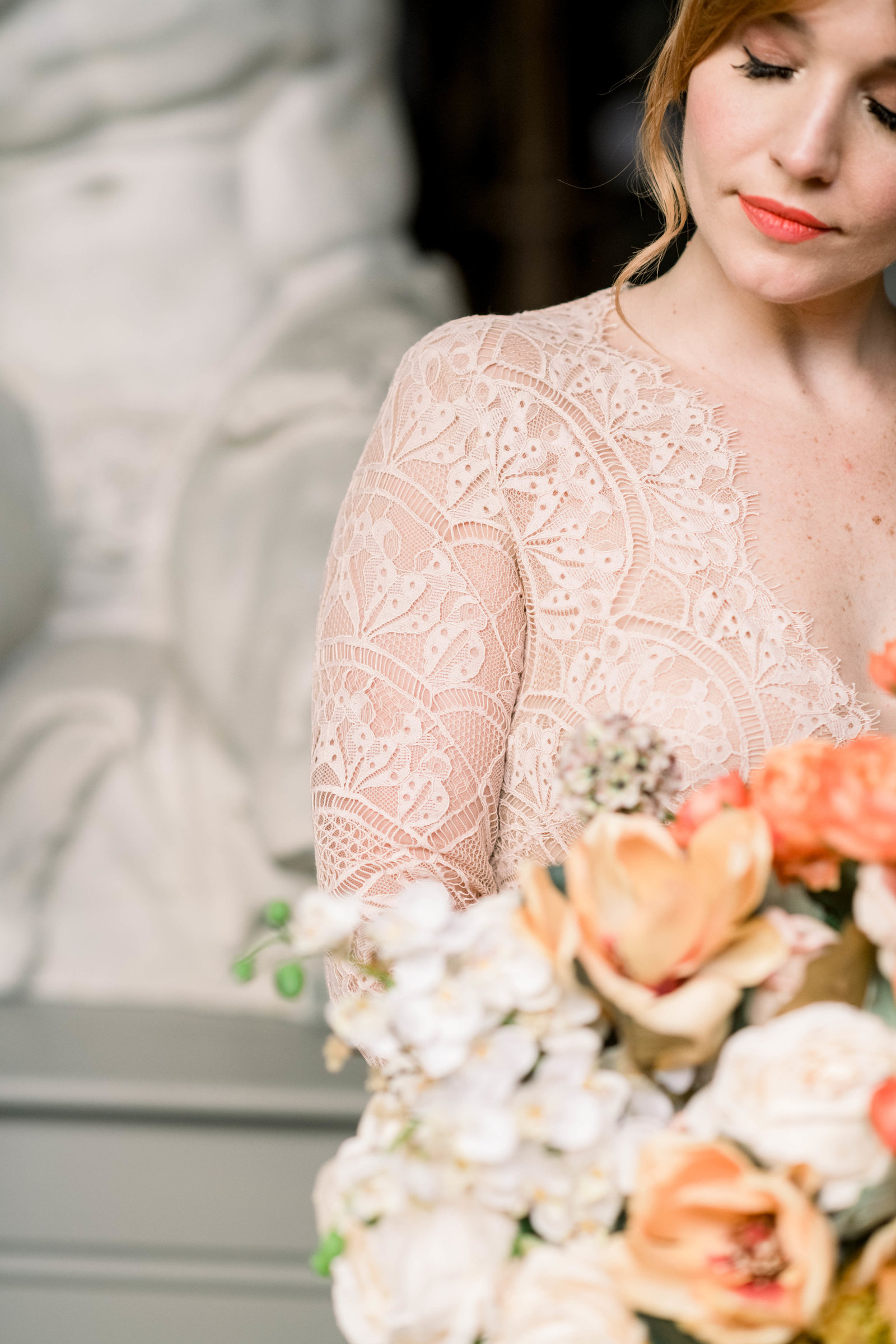 Fine art museum wedding with Kelly Faetanini gown at the Pennsylvania Academy of the Fine Arts by Liz Andolina Photography