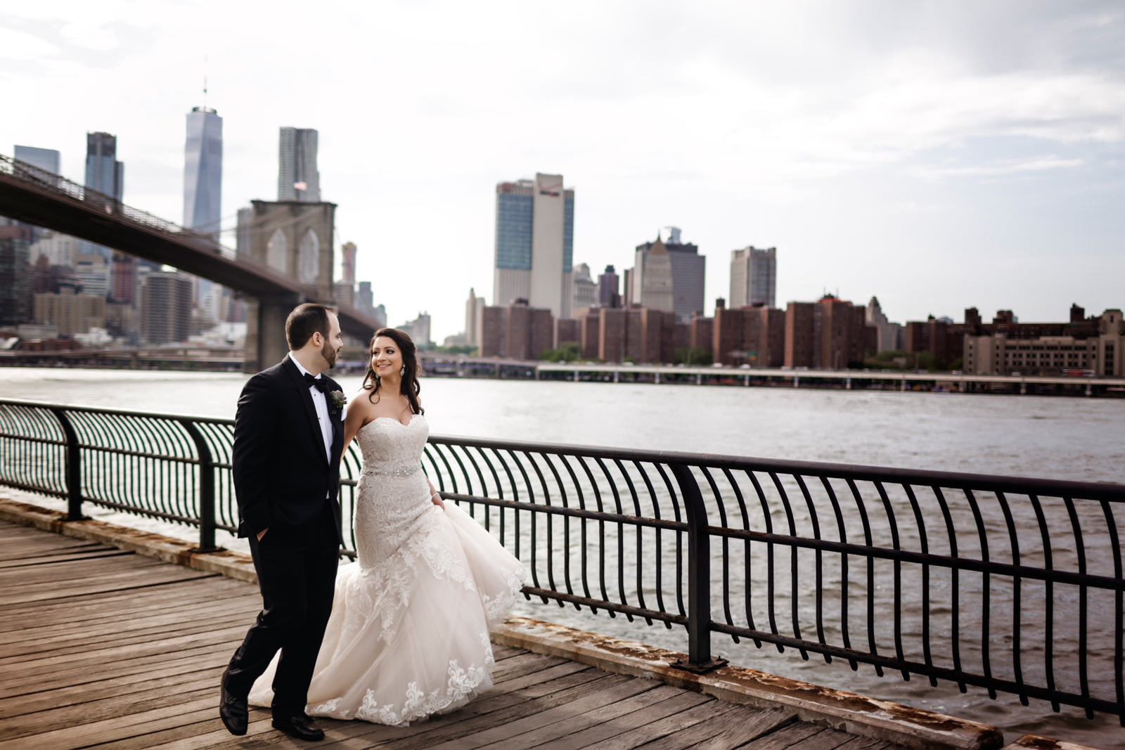 Wedding in New York City and bride and groom portraits in Dumbo, Brooklyn