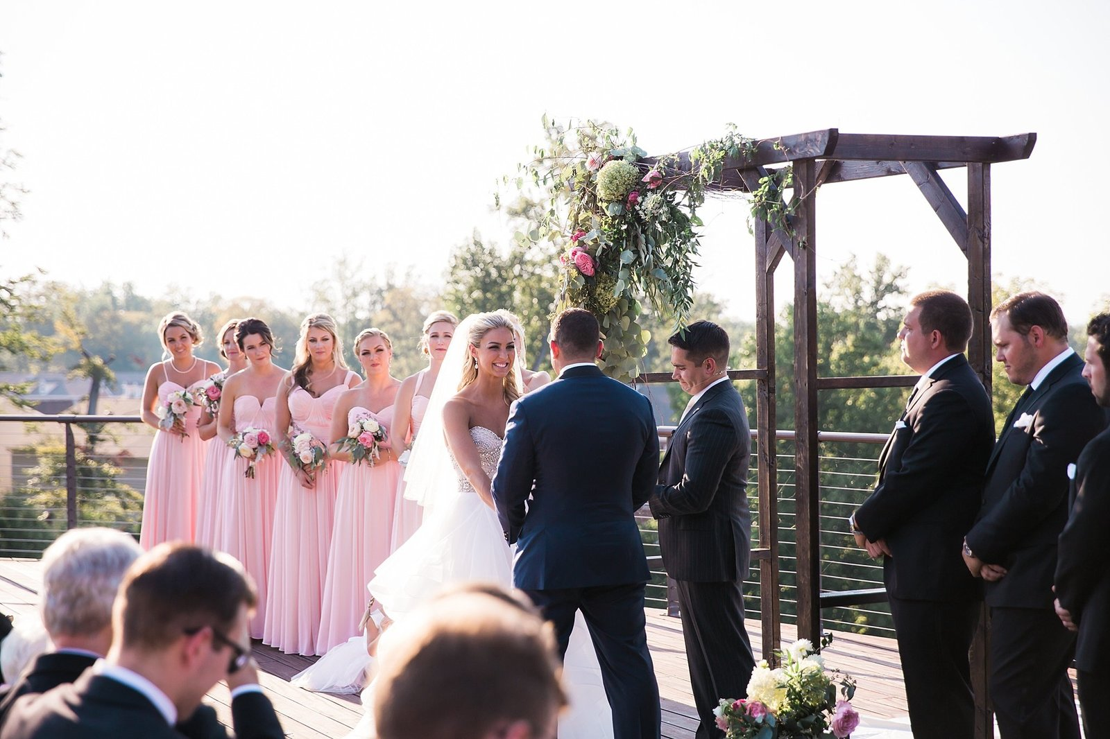 M Harris Studios_Trump National Golf Club Wedding_outdoor pink and black wedding ceremony