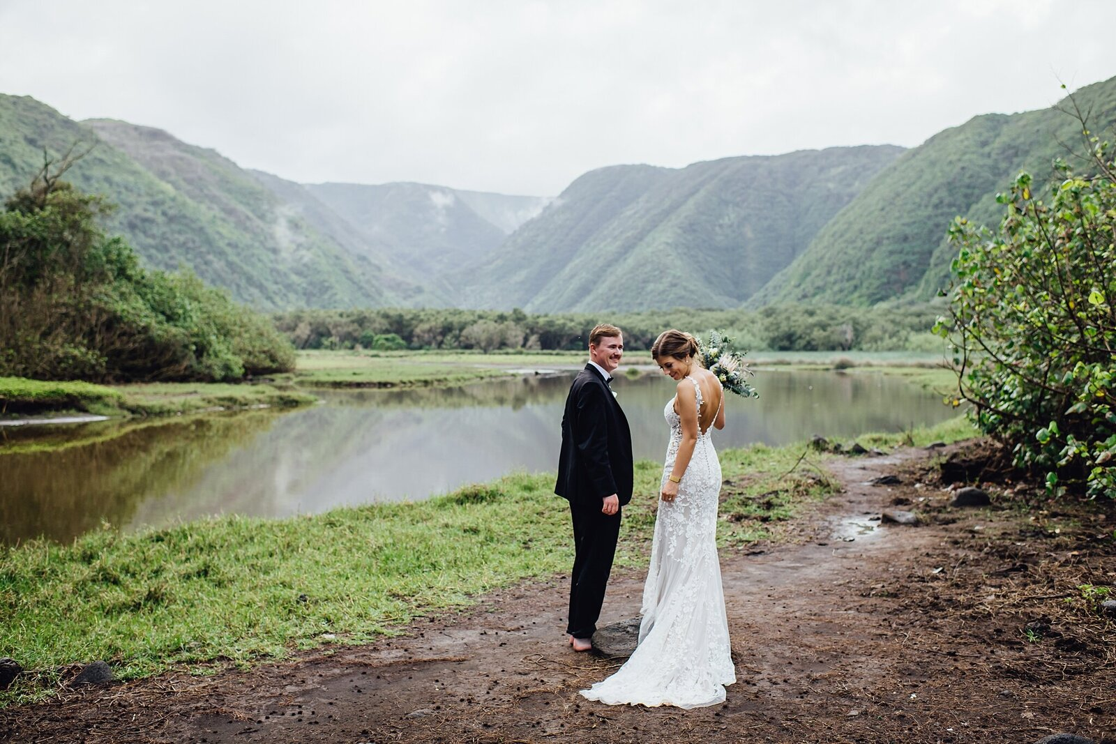views of pololu valley from wedding