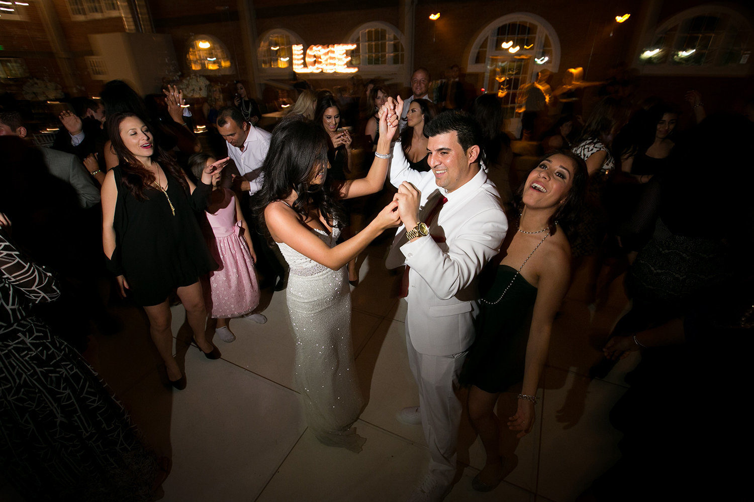 Reception dancing at Brick warehouse in San Diego