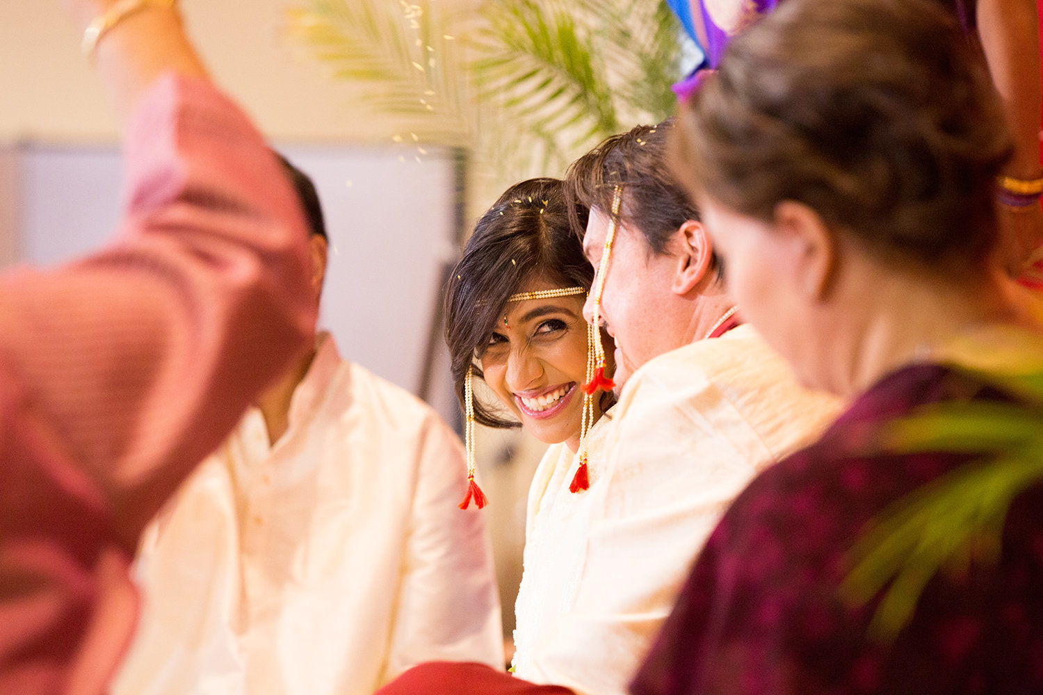A moment of levity during a Hindu wedding ceremony