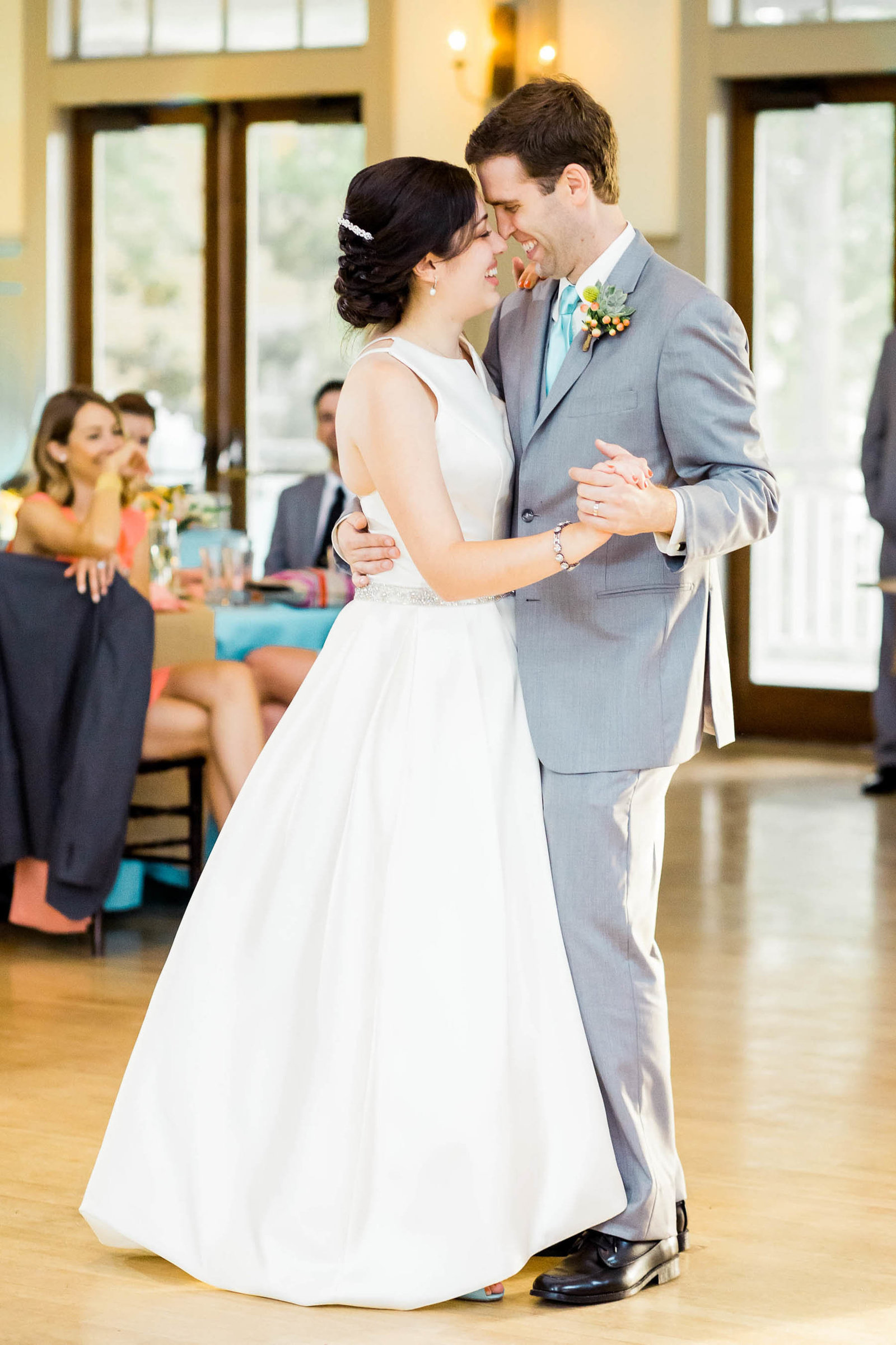 Bride and groom have first dance, I'on Creek Club, Mt Pleasant, South Carolina