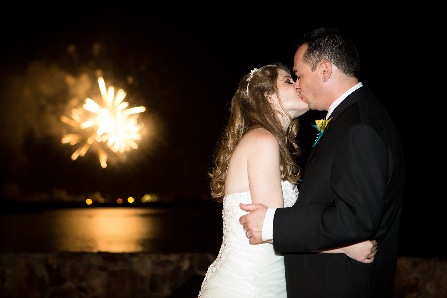 bride and groom with fireworks at hilton mission bay