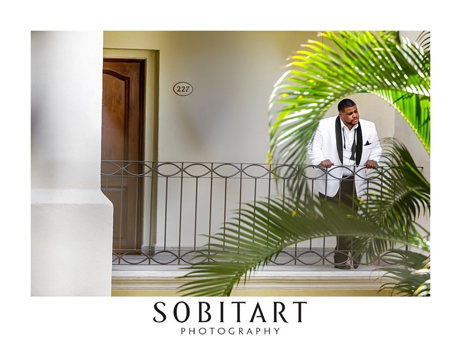 Groom getting ready for ceremony at Dream Resorts Los Cabos Mexico photo by Sobitart Photography