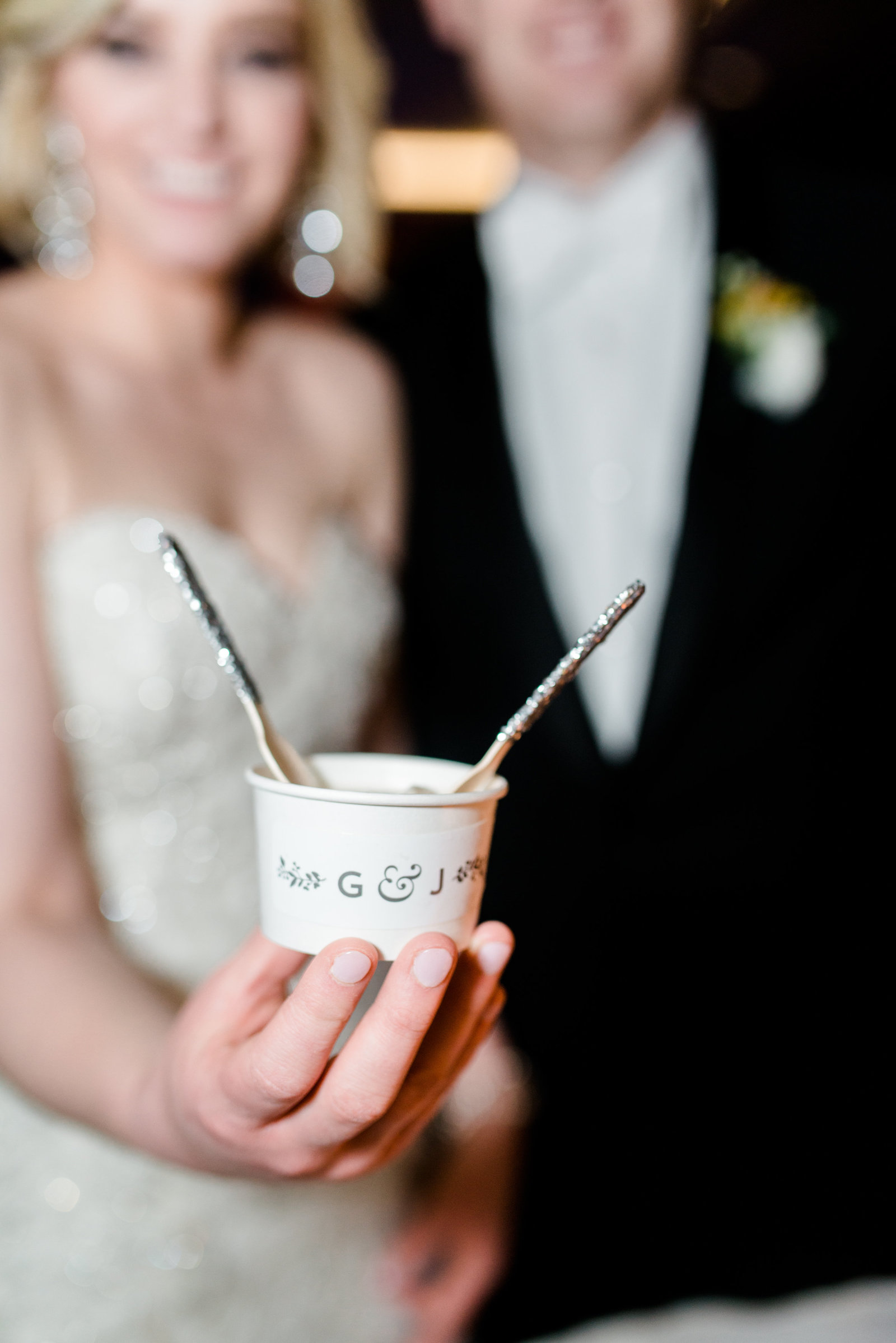custom ice cream cup and spoons at a dallas texas wedding reception
