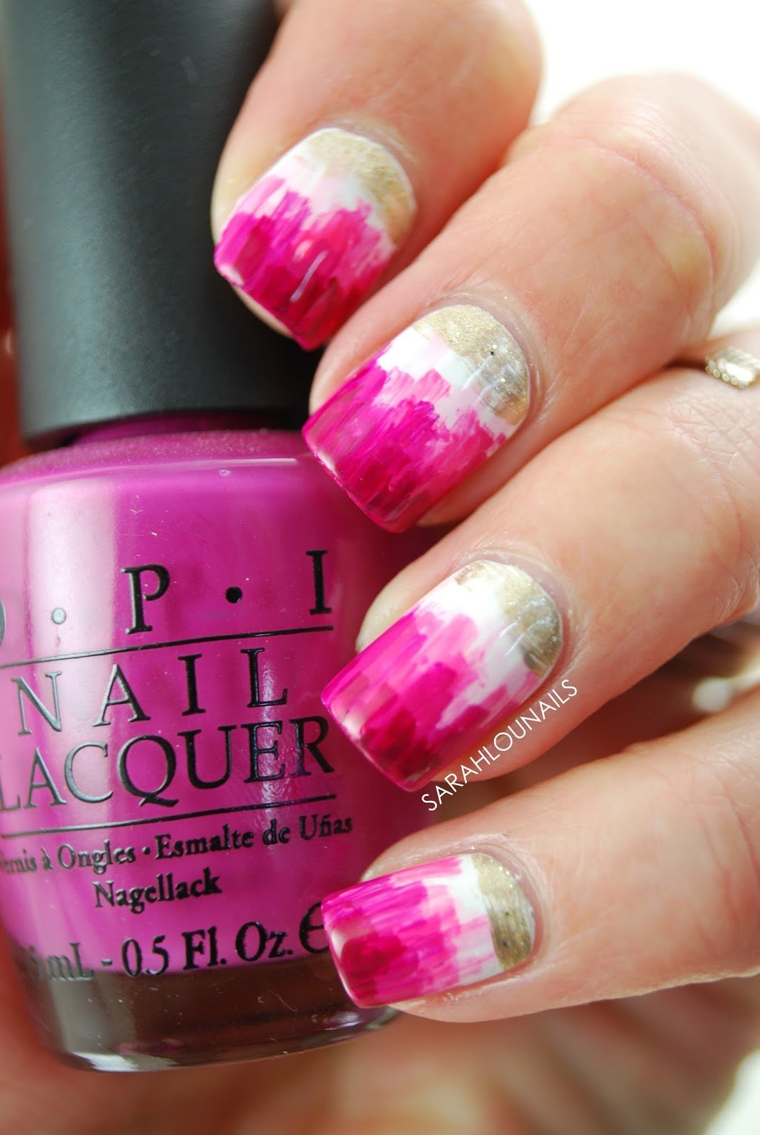 Pink Dry Brush Nails 3