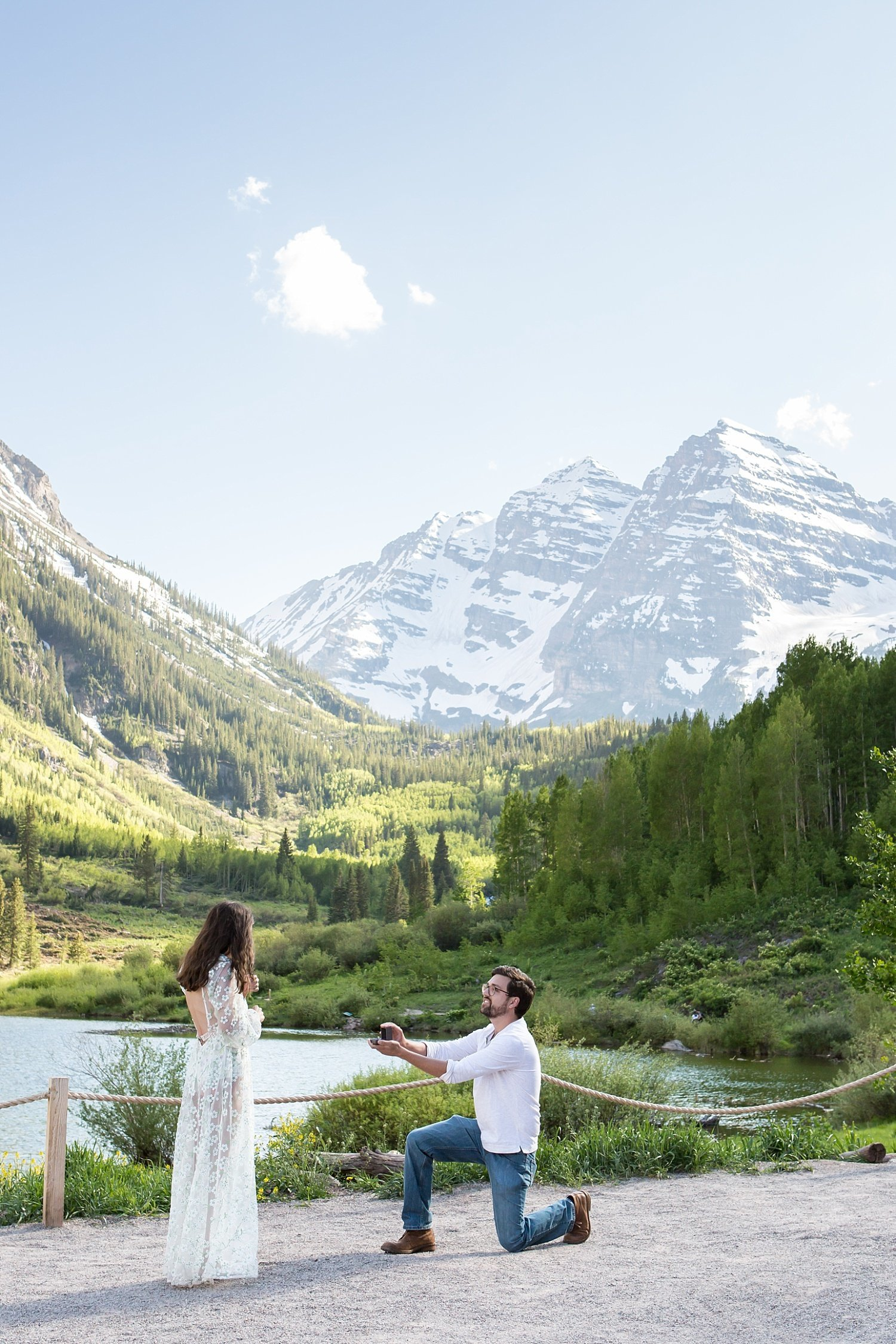 Colorado proposal photography at Maroon Bells in Aspen