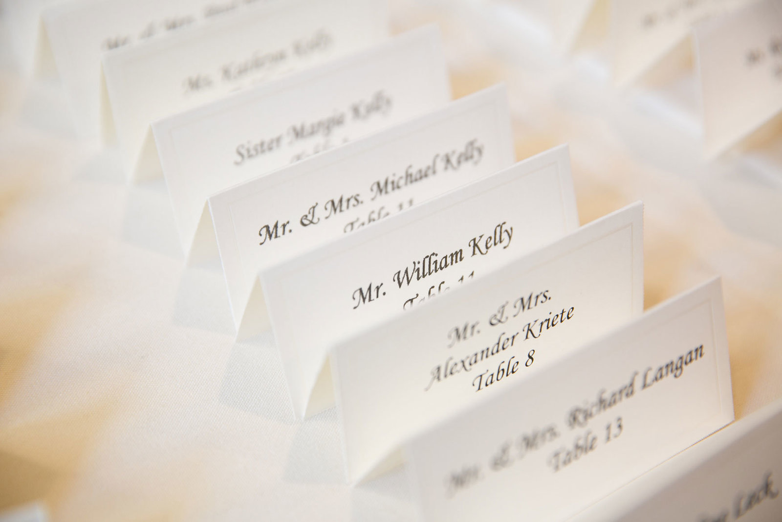 table cards at Glen Island Harbor Club