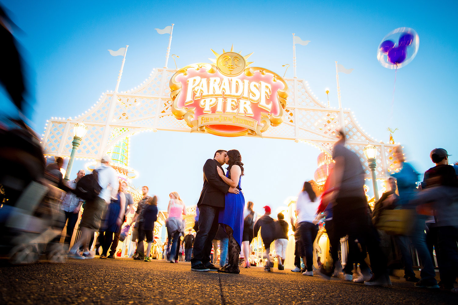 Disneyland engagement photos gorgeous kissing shot
