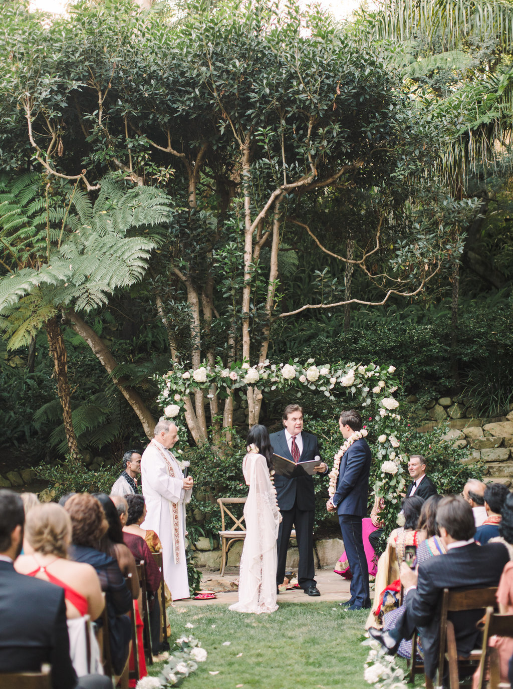 Blended Indian and Christian wedding ceremony at Butterfly Lane Estate in Montecito
