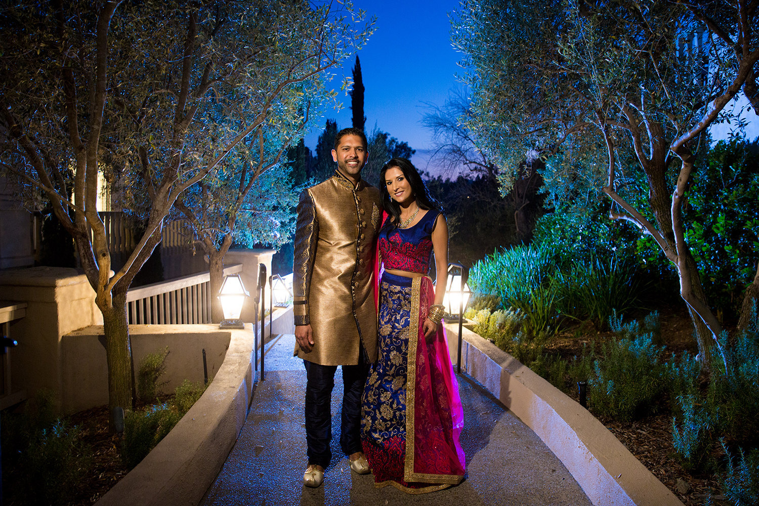 Incredible portrait of Indian bride and groom during sunset at Rancho Bernardo Inn in San Diego